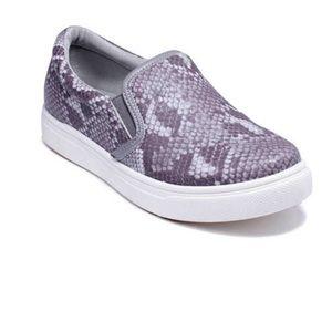 Gray Snake Print Action Slip-On Sneakers